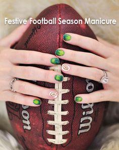 Nail Art Tutorial | Festive Football Season Manicure Nail Polish Designs, Nail Art Designs, Nails Design, Design Design, Beauty Tutorials, Nail Tutorials, Football Nail Art, Gel Nails, Manicure