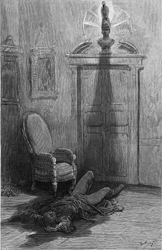 """""""The Raven"""" by Edgar Allen Poe - """"And my soul from out that shadow that lies floating on the floor/Shall be lifted--nevermore"""" - illustration by Paul Gustave Dore 1884"""