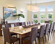 Modern rectangle dining room lighting with brown chairs