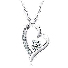 Sephla 14K White Gold Overlay Sterling Silver Forever Lover Heart Pendant Necklace For Women - http://www.jewelryfashionlife.com/sephla-14k-white-gold-overlay-sterling-silver-forever-lover-heart-pendant-necklace-for-women/