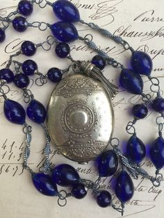 COERULEUM and STARS  - Scintillating Irregular Cobalt Blue Glass Beads and Silver Chatelaine French Slide Mirror Necklace