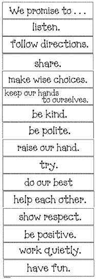 """Classroom management activities: 52-pocket chart """"promise"""" cards, to choose from to help you make your school rules or classroom social contract."""