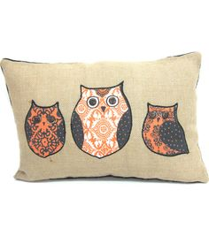 Maker's Halloween Owls Pillow 12''x18''