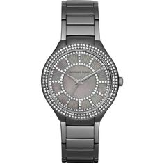 Michael Kors 37mm Kerry Bracelet Strap Watch ($215) ❤ liked on Polyvore featuring jewelry, watches, gunmetal, michael kors jewelry, stainless steel jewelry, michael kors, dial watches and pave jewelry