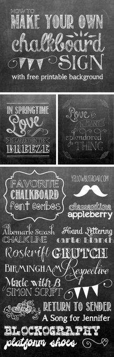 Tips for Making Your Own Chalkboard Sign, Chalkboard Font Combos, and a Free Printable Background!! yellowblissroad.com Chalkboard Lettering, Chalkboard Fonts Free, Chalk Fonts, Quotes For Chalkboard, Sign Fonts, Chalkboard Birthday Signs, How To Make Chalkboard, Chalkboard Background Free, Chalkboard Writing Tips