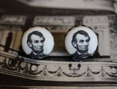 Lincoln Fabric Button Earrings Fabric Abraham by ButtonBizarro, $6.25