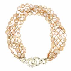Simon Sebbag Sterling Silver Hammered Closure 4 Strand Peach Pearl Necklace SS NB792