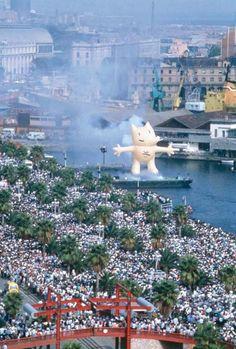 Commemoració al Moll de la Fusta de la proclamació de Barcelona com a seu Olímpica.1988. AFB. Colita