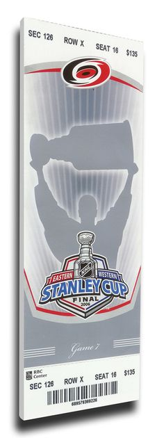 2006 NHL Stanley Cup Canvas Mega Ticket - Carolina Hurricane
