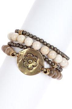 mariechavez Riverstone & Grey Seed Bead Bracelet Set