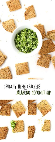 These super easy and nutrient-packed crunchy hemp crackers and spicy-sweet jalapeno coconut dip make a perfect pair and a simple snack! | love me, feed me #vegan #healthy