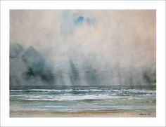 Acuarela de una marina del mar en tempestad. Un cuadro en acuarela de una marina de Galicia en el que el mar y el cielo son protagonistas.
