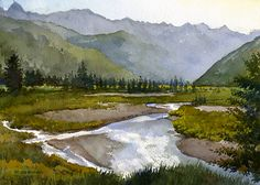 """Bright River by Richard Sneary Watercolor ~ 10"""" x 14"""""""