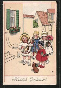carte postale ancienne: CPA Illustrateur Lia Döring: Hartelijk Gefeliciteerd, des enfants singen vor einem Haus