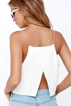 The Share My Lair Ivory Crop Top has thin elastic straps that top the squared-off neckline and darted, knit bodice. A surplice accent leaves a sultry open back. Sewing Clothes, Diy Clothes, Cropped Tops, Black Crop Tops, White Tops, Love Fashion, Fashion Outfits, Summer Crop Tops, Cute Summer Tops