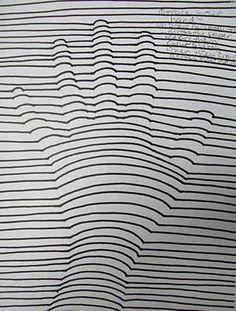 op art trace hand light pencil, draw marker lines