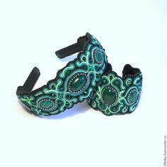 """Купить """"Уральские сказы"""" ободок+браслет. - зеленый, ободок для волос, обруч для волос, браслет с камнями"""