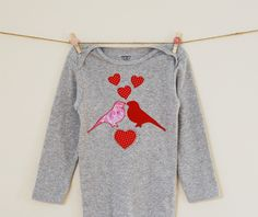 Eden and Eliot: Valentine Lovebirds Onesie Tutorial - How to make a fusible-web and raw-edged applique