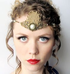 Mermaid Princess Headdress Tiara in Bronze and Pearl via Etsy