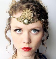 Mermaid Princess Headdress Tiara in Bronze and Pearl via Etsy