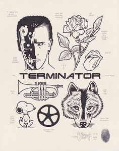 The Terminator is out there! Dessin Old School, Mike Giant, Pin Up Art, Tattoo Designs, Tattoo Ideas, Street Artists, Tattoo Drawings, Small Tattoos, Rock And Roll