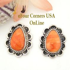 Four Corners USA Online - Spiny Oyster Shell Sterling Earrings Post Style Juan Guerro American Indian Jewelry, $77.00 (http://stores.fourcornersusaonline.com/spiny-oyster-shell-sterling-earrings-post-style-juan-guerro-american-indian-jewelry/)