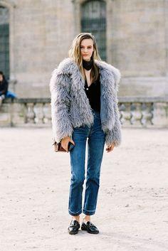 Shaggy fur jacket.