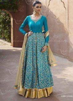 Beautiful Blue Bhagalpuri Silk Heavy Embroidered And Stone Work Lehenga Style Anarkali Salwar Suit