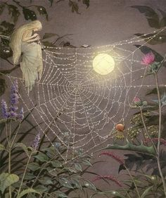 Mending the spider's silken thread ≍ Nature's Fairy Nymphs ≍ magical elves, sprites, pixies and winged woodland faeries - Glow of the moon on silken web Fantasy Kunst, Fantasy Art, Fairy Land, Fairy Tales, Elfen Fantasy, Illustration Art, Illustrations, Fairytale Art, Alphonse Mucha