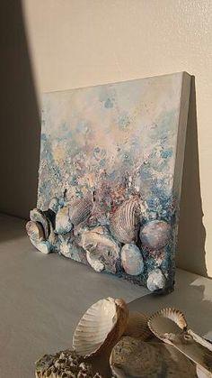 Abstrakte Malerei Meeresmuschel 8 x 8 Home Dekor Leinwand