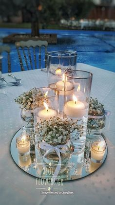 The Effective Pictures We Offer You About Wedding tables white A quality pictu. Candle Wedding Centerpieces, Wedding Table Centerpieces, Flower Centerpieces, Flower Decorations, Wedding Decorations, Centerpiece Ideas, Wedding Table Centres, Wedding Table Settings, Wedding Tables