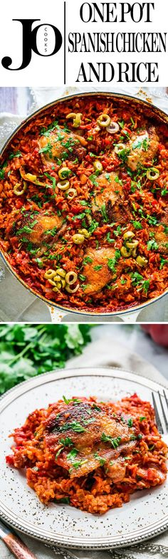 This One Pot Spanish Chicken and Rice is packed with great flavors and vibrant colors! Easy to make and all in one pot, from the stove top to the oven, dinner is ready with no fuss!