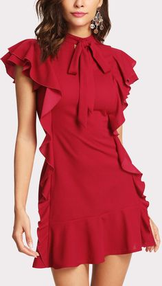 Red Flounce Embellished Tied Neck Dress