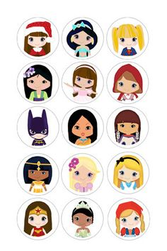 By2 get 1 free Doll2 4x6 Digital Collage Sheet PDF 1 Inch Circles for Round Bottle Caps, Magnets, Hair Bow Centers, & More