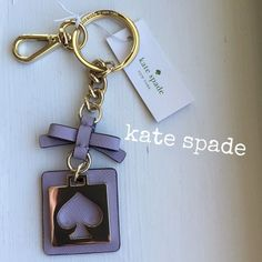 """kate spade"" Cut Out Spade Keychain~NWT ""kate spade"" Cut Out Spade Keychain~~Live Colorfully~NWT Color:Lilacbliss/Gold""~Firm unless bundled~🚫NO Trade🚫 💯% Authentic kate spade Accessories Key & Card Holders"