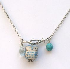 Silver Leaf Turquoise Quartz Porcelain Owl Necklace