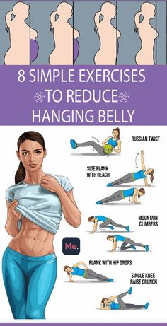 8 Simple & Best Exercises to Reduce Hanging Belly Fat Lower Belly fat does not look good and it damages the entire personality of a person. Reducing Lower belly fat and getting into your best possible shape may require some exercise. But the large range o Gym Workout Tips, Fitness Workout For Women, At Home Workout Plan, Body Fitness, Workout Routines, Fitness Workouts, Workout Challenge, Easy Workouts, Short Workouts