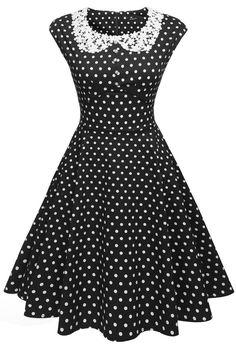 1960s Dresses – A Rainbow of 50 Dresses (Pictures)  Classy Polka Dot Pinup Dress $26.50 AT vintagedancer.com