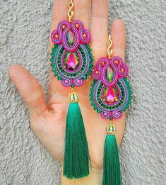 Image may contain: jewelry Jewelry Design Earrings, Bead Jewellery, Beaded Earrings, Jewelery, Tatting Jewelry, Soutache Jewelry, Textile Jewelry, Fabric Jewelry, Handmade Beaded Jewelry