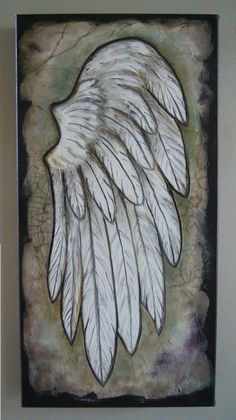 Angel Wing  Textured Acrylic Art  Inspirational Angel Art.. Original Textured painting> $200.00