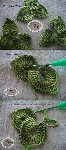 Crochet Leaves - Photo Tutorial ❥ 4U hilariafina http://www.pinterest.com/hilariafina/