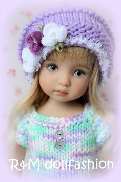 "R&M DOLLFASHION PASTEL LINE OOAK handknit set for Effner Little Darling 13"" doll"