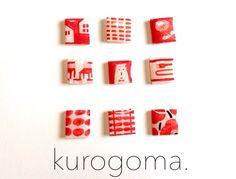 北欧柄イヤリング【赤】 by kurogoma. アクセサリー イヤリング