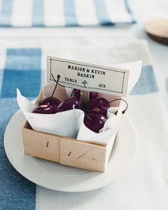 But def not cherries! cherry basket place card are perfect for a summer supper setting Wedding Seating Cards, Wedding Place Cards, Wedding Favours, Wedding Invitations, Invites, Unique Weddings, Real Weddings, Rustic Weddings, Just In Case