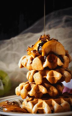 Drizzle this mountain of Apple Pie Waffles with syrup and enjoy!