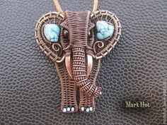 """Wow! This is amazing, most projects dont intimidate me like this, I would never try to do this, I would buy it though lol. Good friend loves Elephants, this is a work of art for sure Кулоны, подвески ручной работы. Ярмарка Мастеров - ручная работа. Купить Кулон из меди и бирюзы """"Слон"""". Handmade. Синий"""