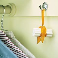 A bundle of chalk hung in a closet will absorb extra moisture and keep clothing fresh and dry, and takes up much less room than an electric dehumidifier. Mount a hook in the closet, out of the way of clothes or linens. Fasten a rubber band around a dozen pieces of chalk, and cover band with ribbon, allowing enough loop to hang chalk.