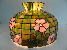 Vtg~Tiffany Style Stained/Slag/Favrile? Glass, Floral Hanging Light Fixture Lamp