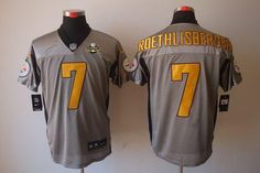 Nike Steelers  7 Ben Roethlisberger Grey Shadow With 80TH Patch Men s  Stitched NFL Elite Jersey 82c51d8fc