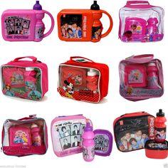 Children Kids Disney 3pc Lunch Box Set Drink Bottle Toys Picnic School Nursery